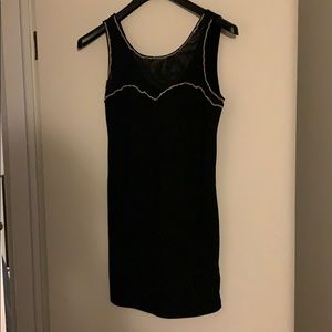 black bodycon with mesh front and chain detail